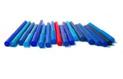 All shades of blue felt-tip pens Stock Photo