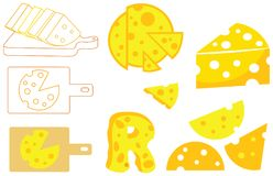 All Shape of Cheese Vector Icon Illustration. For many purpose such as sticker, logo, print needs, social media needs, cheese shop banner, cheese shop profile Stock Illustration