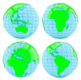 All side of Earth. Isolated Stock Images