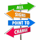 All Signs Point to Change Adapt Evolve Disrupt Signs Royalty Free Stock Photo