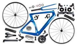 All single parts of blue black modern aerodynamic carbon fiber racing road bicycle stock image