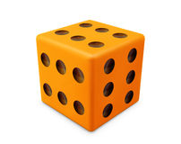 All six. Orange game die with six on all sides Royalty Free Stock Photo