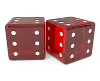 All six, Red dice isolated on white Royalty Free Stock Image