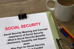 All about social security- importance benefits and dependents in. Formation- on a coversheet of a lecture Royalty Free Stock Photography