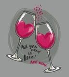 All ` som du behöver, är förälskelse- och vin`-affischen med två vinexponeringsglas och hjärtor Royaltyfri Foto