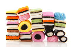All sort licorice. Candy in many colors Stock Photo