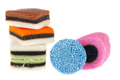 All sort liquorice. Some sweets from all sort liquorice isolated over white background stock photos