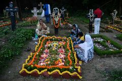 People gather to celebrate All Souls Day in Kolkata. All Souls' Day is a day when Christians remember their family, friends & relatives, who have passed stock photos