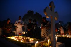 People gather to celebrate All Souls Day in Kolkata. All Souls' Day is a day when Christians remember their family, friends & relatives, who have passed royalty free stock photography