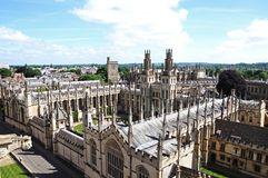 All Souls College, Oxford. Elevated view of All Souls College seen from the University church of St Mary spire, Oxford, Oxfordshire, England, UK, Western Europe Stock Image