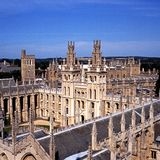 All Souls College, Oxford, England. View over the rooftops of All Souls College (The Warden and the College of the Souls of all Faithful People deceased in the Royalty Free Stock Image