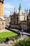 All Souls College, Oxford. Partly elevated view of All Souls College seen from the University church of St Mary spire with the edge of Radcliffe Camera to the Royalty Free Stock Photos