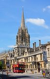 All Souls College, Oxford. All Souls College and the spire of the University Church of St Mary to rear along High Street, Oxford, Oxfordshire, England, UK Royalty Free Stock Photography