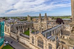 All Souls College Oxford University, Oxford, UK. Aerial view of the All Souls College of Oxford University Stock Photography