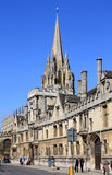 All Souls College and St Mary The Virgin Oxford. View from the High Street to the Front of All Souls College and the spire of The University Church of St Mary Stock Photography
