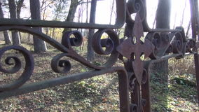 All Souls Day antique rusty cross in ancient  cemetery stock video