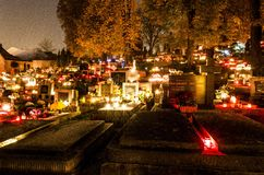 All Souls Day. 1 November 2014 in Banska Bystrica, Slovakia, night photo on cemetery Royalty Free Stock Photography