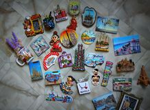 Spanish towns magnets collection royalty free stock photography