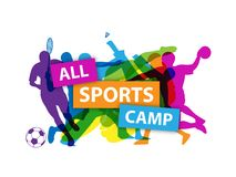 Silhouettes showing people taking part in various sports in the colors of the rainbow with colorful `ALL SPORTS CAMP` banner royalty free illustration