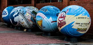 2000 All-Star Baseballs. Giant baseballs created in celebration of the 2000 MLB All-Star game in Atlanta sit outside the Underground in downtown stock photography