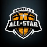 All-Star- Basketball, Sportlogoemblem Lizenzfreie Stockfotografie