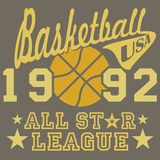 All-Star- Ligagrafik des Basketballs, Typografieplakat, T-Shirt Druckdesign, Vektor Ausweis-Applikations-Aufkleber Stockfotos