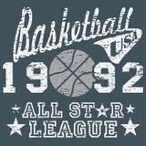 All-Star- Ligagrafik des Basketballs, Typografieplakat, T-Shirt Druckdesign, Vektor Ausweis-Applikations-Aufkleber Stockfotos