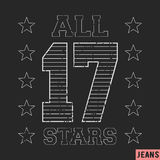 17 all star vintage stamp Royalty Free Stock Photography