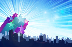 All Stars City. Cityscape with Big and small stars of various colors Stock Photography