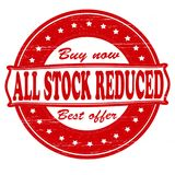 All stock reduced. Stamp with text all stock reduced inside, illustration stock illustration