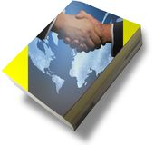 All about success. Book with hands shake and world map Stock Photo