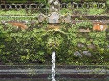 Purification fountain in a Bali temple invaded by moss, Indonesia. All temples in Bali have a multitude of ancient stone statues. In this photo taken in a temple stock photo