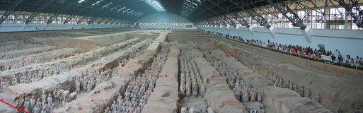 All the terracotta warriors. Army - Zian - China - Panorama Royalty Free Stock Photo