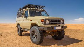 All terrain car. At the Tunisian desert Royalty Free Stock Photo