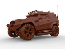 All terrain concept clay car. 3D render illustration of an all terrain concept car made out of clay. The composition is  on a white background with shadows Royalty Free Stock Photo