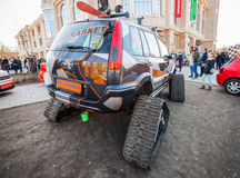 All-terrain cross-country vehicle on tracks, back view Stock Photography
