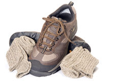 All terrain hiking lightweight shoe. All terrain cross training hiking lightweight shoe with ragg socks Royalty Free Stock Images
