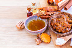 All of thai skin care ingredients. Royalty Free Stock Photo