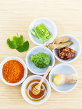 All of thai skin care ingredients. Royalty Free Stock Photos
