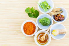 All of thai skin care ingredients. Stock Photos