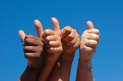 All thumbs up royalty free stock photography