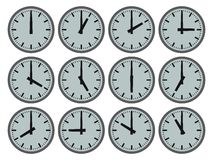 All The Time In The World. Illustration of 12 clocks showing hourly times Royalty Free Illustration