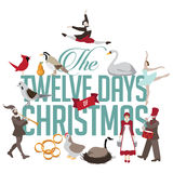 All Twelve days of Christmas. EPS 10 vector illustration Royalty Free Stock Photography