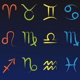 All twelve zodiac symbols isolated on dark blue gradient background royalty free illustration