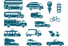 All types of City Transport. 15 icons Royalty Free Stock Photography