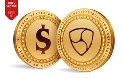 All'unanimità Moneta del dollaro monete fisiche isometriche 3D Valuta di Digital Cryptocurrency Monete dorate con il simbolo del  Fotografia Stock Libera da Diritti