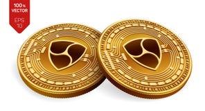 All'unanimità Valuta cripto monete fisiche isometriche 3D Valuta di Digital Monete dorate con all'unanimità il simbolo isolate su Immagine Stock Libera da Diritti
