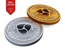All'unanimità Valuta cripto monete fisiche isometriche 3D Valuta di Digital Monete dorate e d'argento con all'unanimità il simbol Fotografie Stock