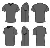 All views men's black short sleeve v-neck t-shirt Stock Images