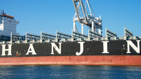 All visible cargo unloaded from the vessel, Cargo Ship HANJIN JUNGIL. Oakland, CA - September 29, 2016: All visible cargo unloaded from the vessel, Cargo Ship Royalty Free Stock Photography